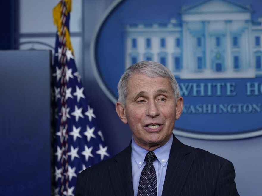 Dr. Anthony Fauci, director of the National Institute of Allergy and Infectious Diseases, speaks with reporters in the James Brady Press Briefing Room at the White House last month.