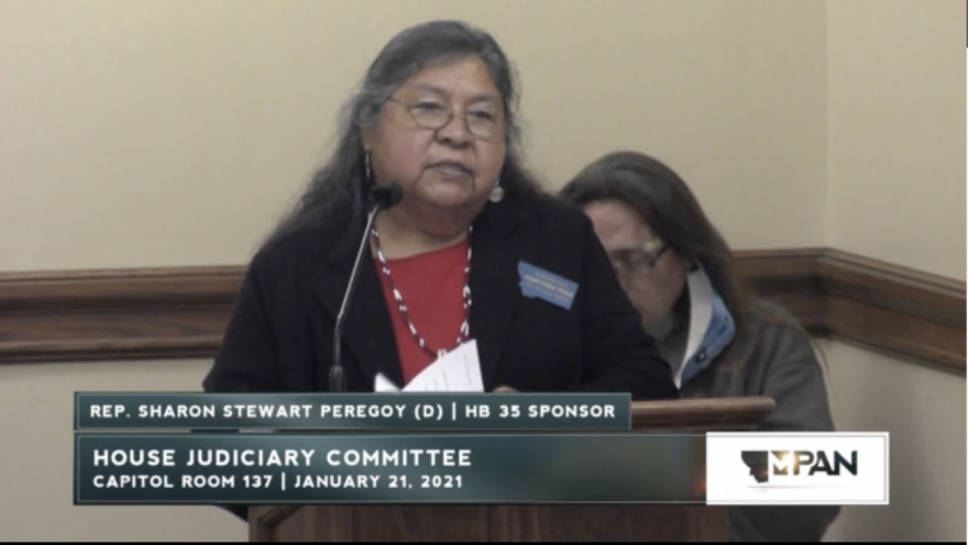 Democratic Rep. Sharon Stuart Peregoy introduces House Bill 35 to the House Judiciary Committee on Jan. 21, 2021.