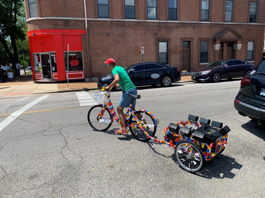 James Bragado tests out a mobile sound monument that was designed to elevate the types of music heard in predominantely Latino neighborhoods. [6/6/19]