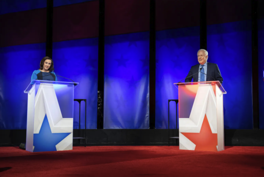 Democratic challenger MJ Hegar and Republican U.S. Sen. John Cornyn face off in a Nexstar televised debate Friday night at the Bullock Texas State History Museum in Austin.