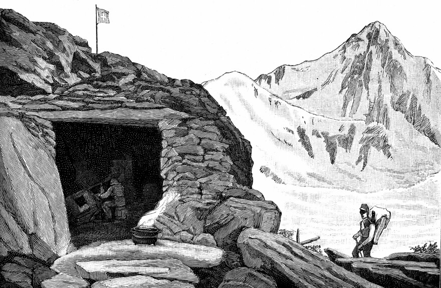 """Louis Agassiz, at the""""Hotel de Neuchatelois,"""" shelter he built around a huge boulder on the Aar glacier, Switzerland, during his 1840 expedition."""