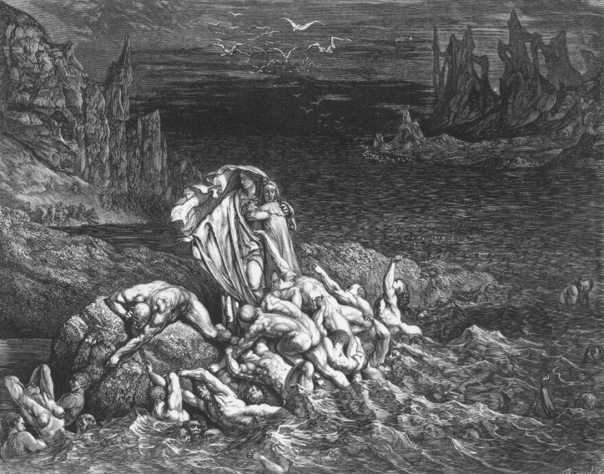 Hell was much written and thought about in 2011. In this 18th century engraving accompanying Dante's <em>Inferno,</em> Virgil leads the poet past souls writhing in torment in the River Styx.