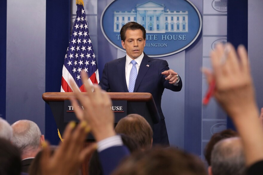 Incoming White House communications director Anthony Scaramucci answers reporters' questions during the daily White House press briefing on Friday.