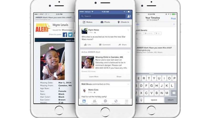 An example of what Facebook's Amber Alerts will look like.