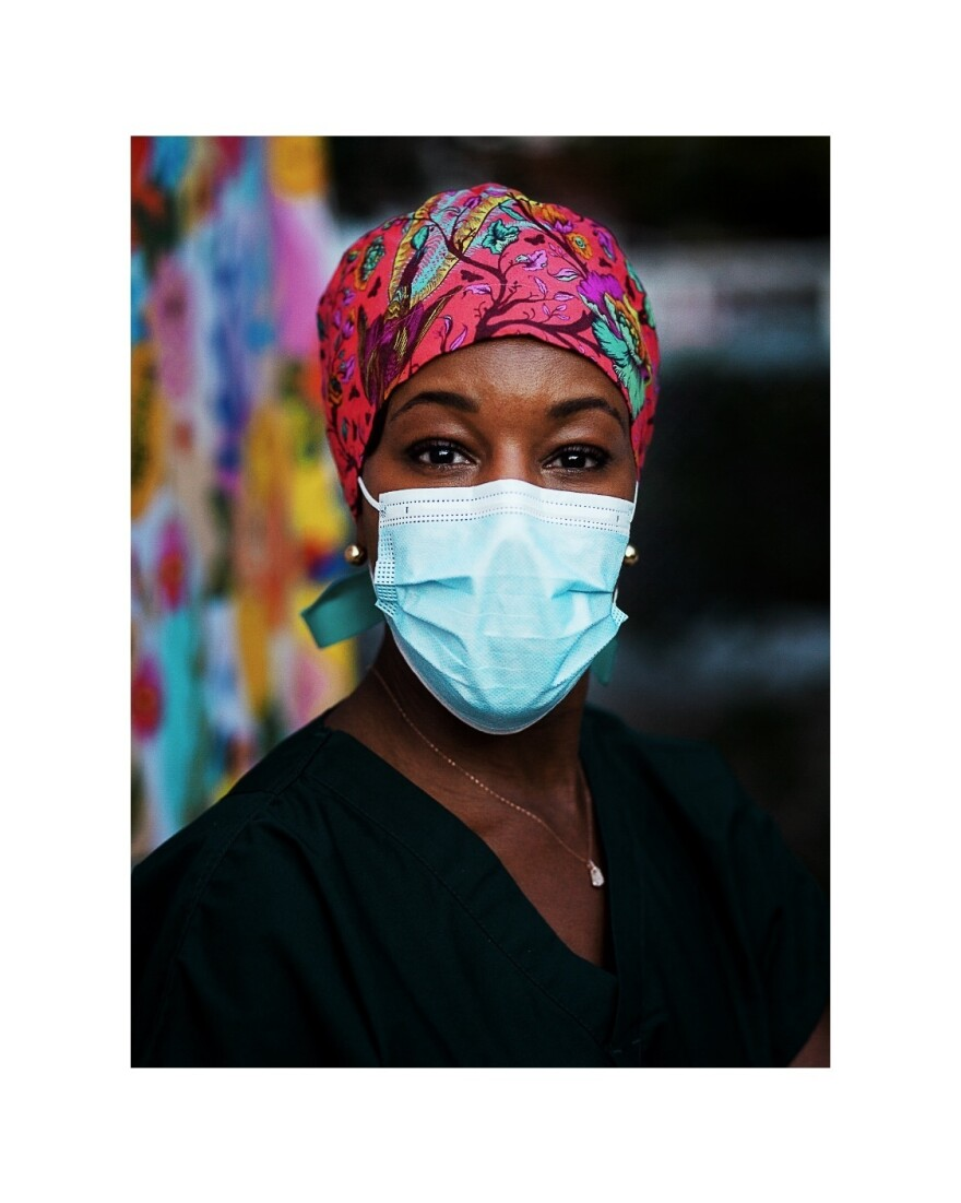 The photo from Karene Jean-Baptiste's project, Faces of Black Women in Health Care, is called Self-Portrait Done During The Pandemic.