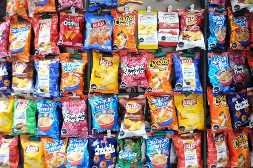 This chip kiosk is a sea of black-label warnings. You might want to head over to the fruit stand.