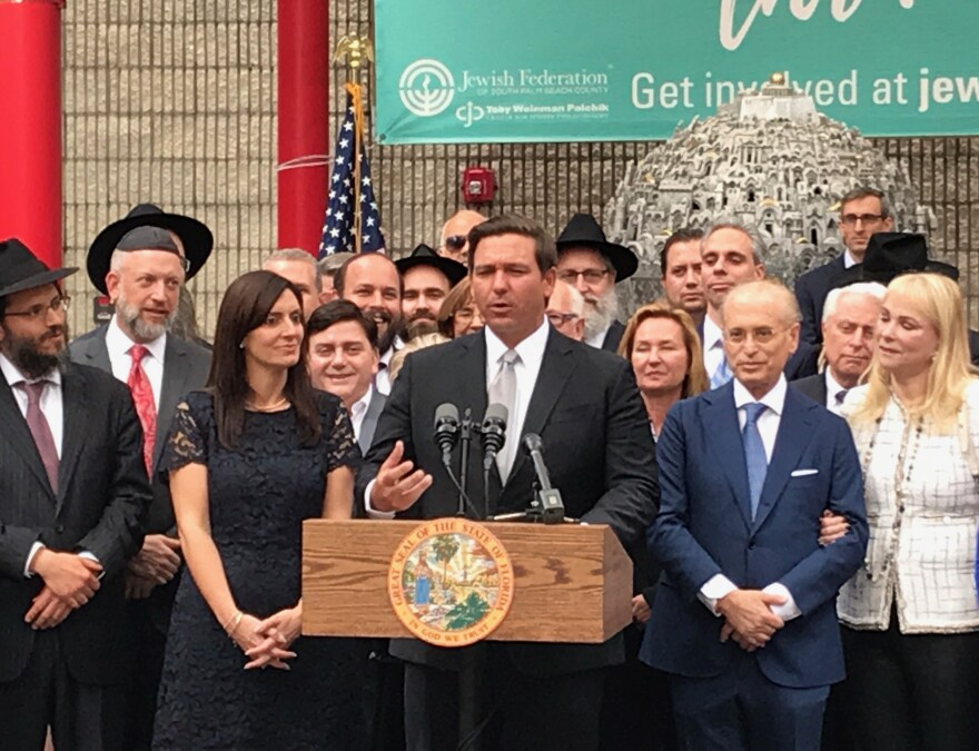 Gov. Ron DeSantis detailed on Tuesday his policy toward Israel at the Jewish Federation of South Palm Beach County.