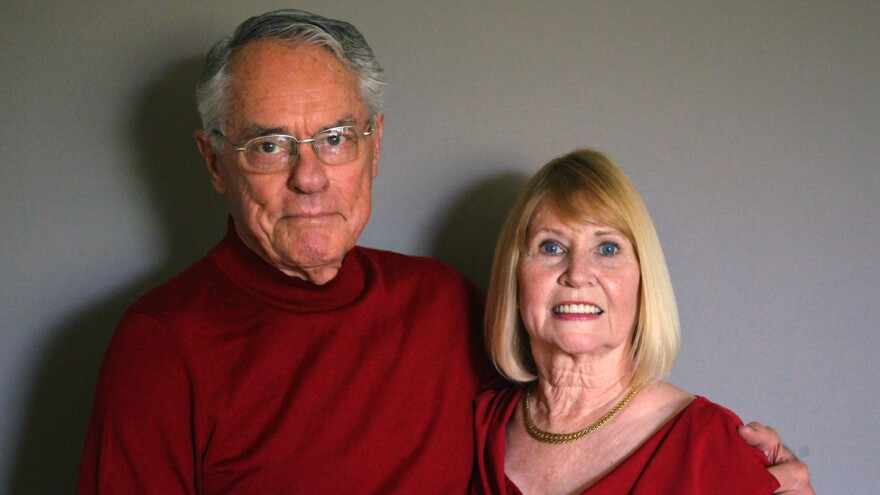 Donnie Dunagan with his wife, Dana, on a recent visit to StoryCorps in San Angelo, Texas.