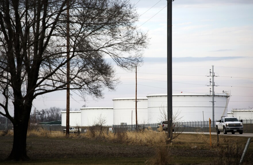 Exxon Mobil's storage tanks, as seen from Brian Stover's yard. (Jan. 2017)