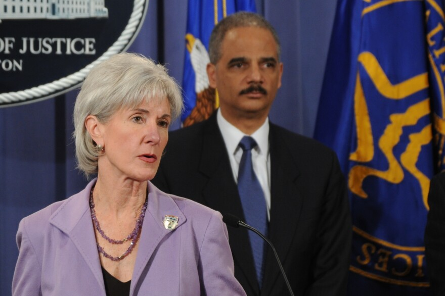 HHS Secretary Kathleen Sebelius and Attorney General Eric Holder oversee the Medicare Fraud Strike Force