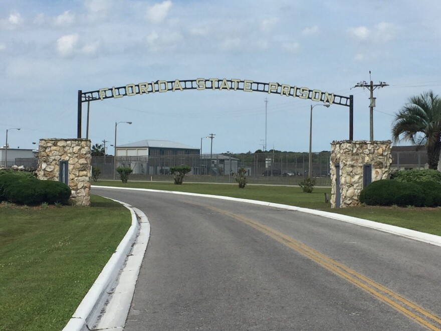 The entrance to Florida State Prison outside Raiford, FL.