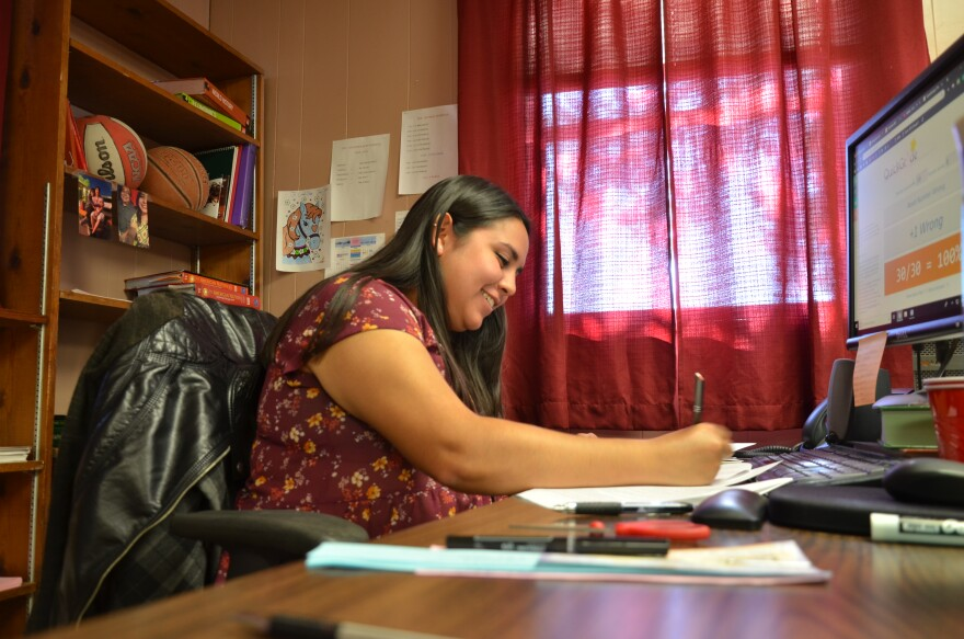 Rebekah Oñate is the youngest teacher at Valentine Independent School District. Eighty percent of her colleagues are old enough to retire.