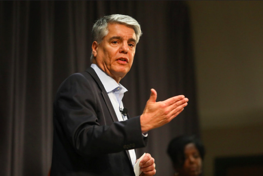 UT Austin President Greg Fenves speaks during a town hall meeting about sexual misconduct among UT faculty and staff in January.