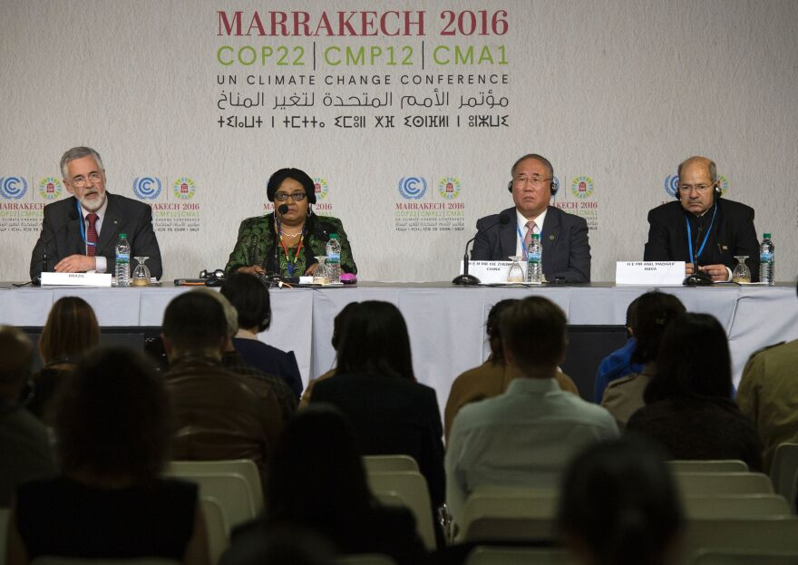 Jose Antonio Marcondes de Carvalho (left), Brazil's undersecretary for environment, South African Minister of Environmental Affairs Edna Molewa, Xie Zhenhua, Special Representative for Climate Change for China, and Indian Minister of State for Environment, Forest and Climate Change Anil Madhav Dave speak at a press conference on Thursday in Marrakesh.