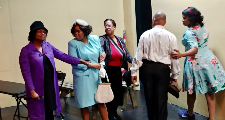 Yvette Watson as Alma Spearman (Mamie Till's mother) and Mendu Khanyile as Mamie Till in rehearsal for X*ACT's production of The Face of Emmett Till