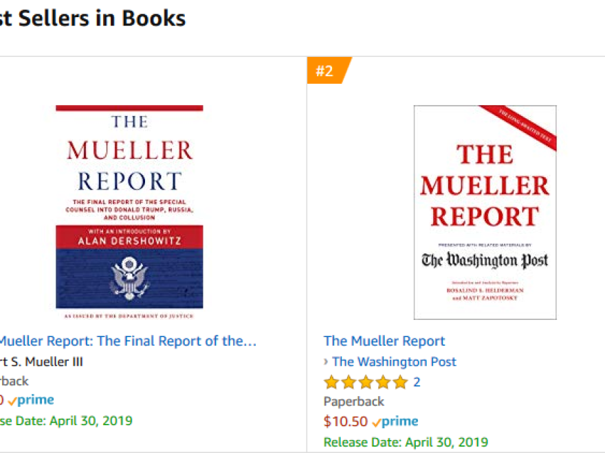 A day after the release of the redacted Mueller report, book versions of it occupied the top spots on Amazon's bestseller list.