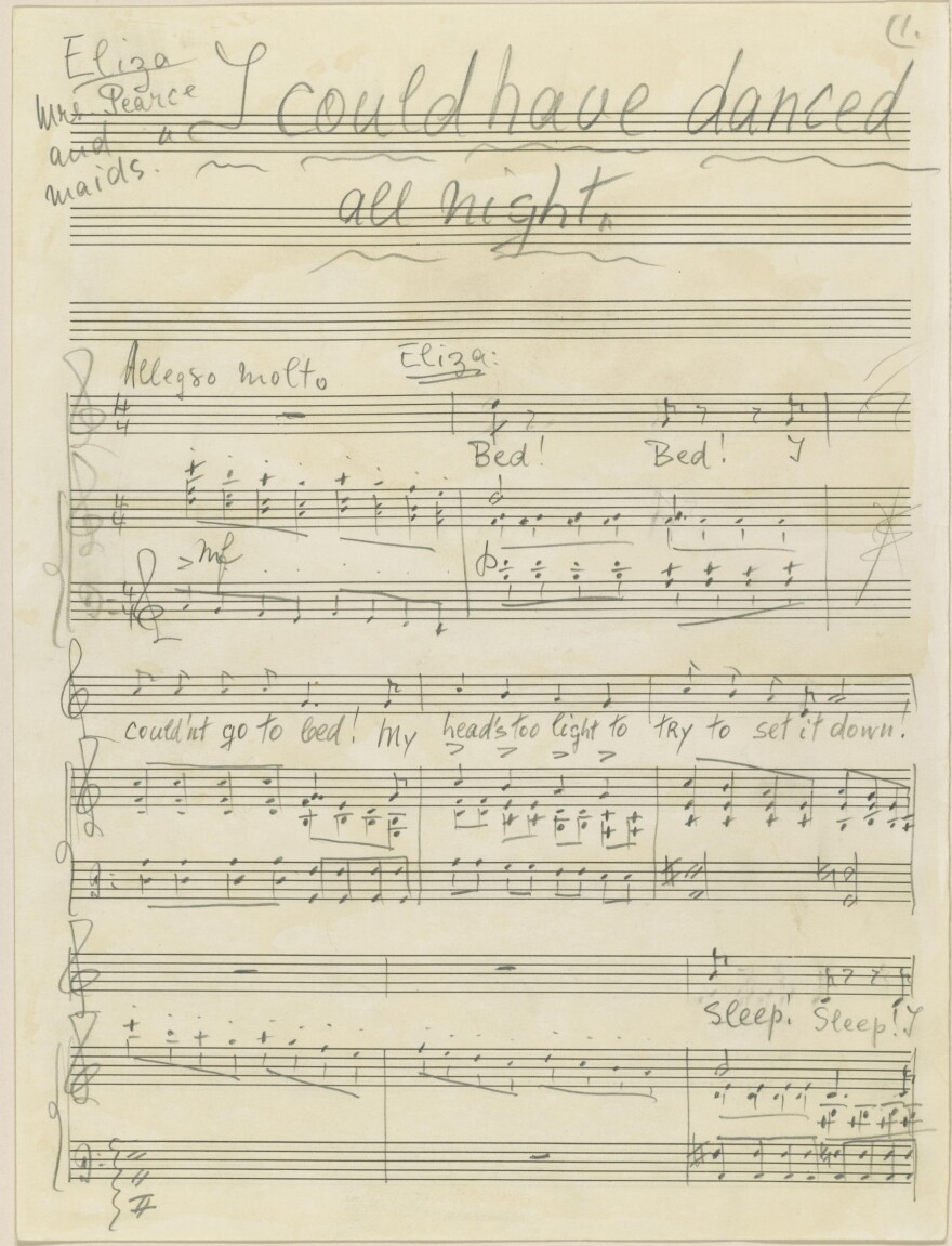 """The composer's manuscript for """"I Could Have Danced All Night"""" from <em>My Fair Lady</em>, 1956."""