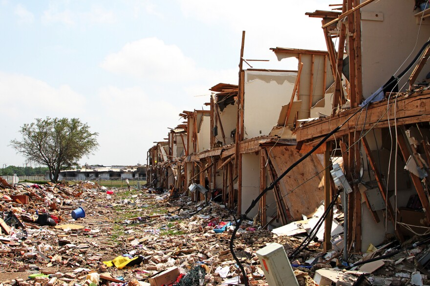 One of the apartment buildings destroyed in the West, Texas, explosion on April 18, 2013.