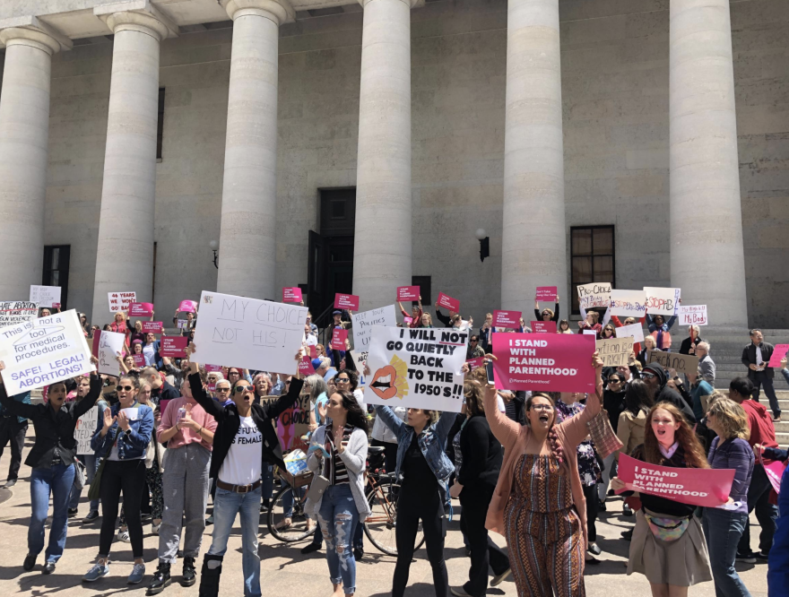 Abortion rights protestors at Ohio Statehouse
