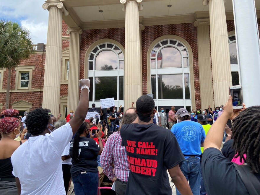 Hundreds of people gathered in front of the Glynn County Courthouse on a recent Saturday in May to demand justice for Ahmaud Arbery, who was shot and killed in February in Brunswick, Ga.