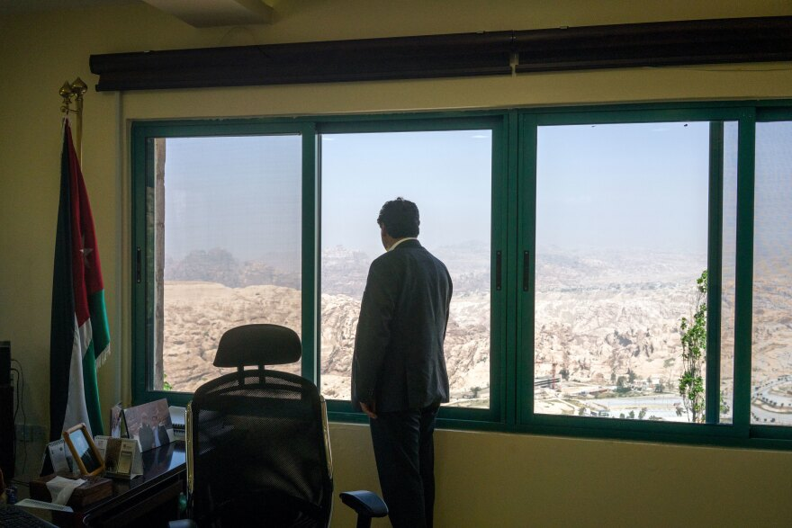 Suleiman Farajat, chief commissioner for the Petra Development and Tourism Region Authority, at his office overlooking the hills near Petra.