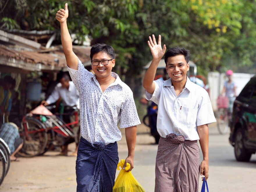 Reuters reporters Wa Lone and Kyaw Soe Oo after being freed from Insein prison, after receiving a presidential pardon in Yangon, Myanmar, on Tuesday.