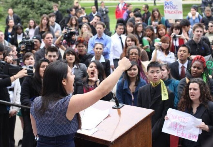 Sofia Jones speaks at the 2011 University of California Student Lobby Conference in Sacramento. Jones was among many lobbying for the California Dream Act and affordable higher education.