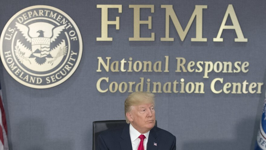 President Trump speaks during a visit to Federal Emergency Management Agency headquarters in Washington, D.C., on Aug. 4.