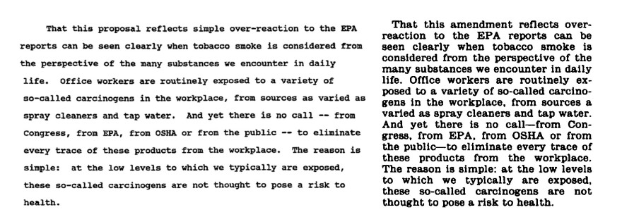 A side-by-side comparison of the tobacco industry proposed language (left) and McConnell's remarks in the Congressional Record shows the wording to be nearly identical.