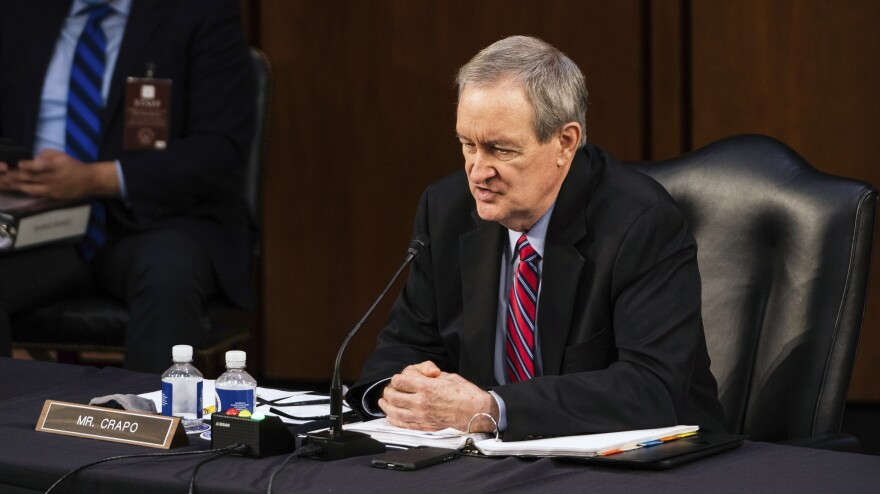 Sen. Mike Crapo, R-Idaho, speaks during the confirmation hearing for Supreme Court nominee Amy Coney Barrett on Wednesday.