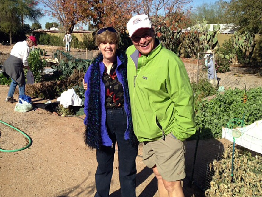 Meg Johnson and Brad Holland were behind the effort to replant the memorials' flowers and plants. They also used the plastic sticks that hold cards in potted plants for crop labels.