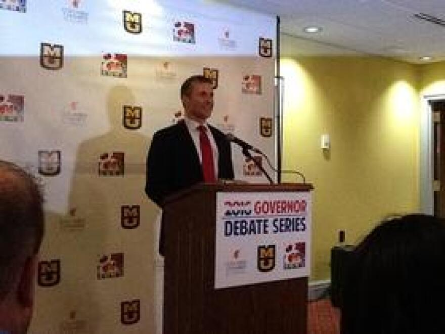 Eric Greitens answers questions from the media after Thursday's debate.
