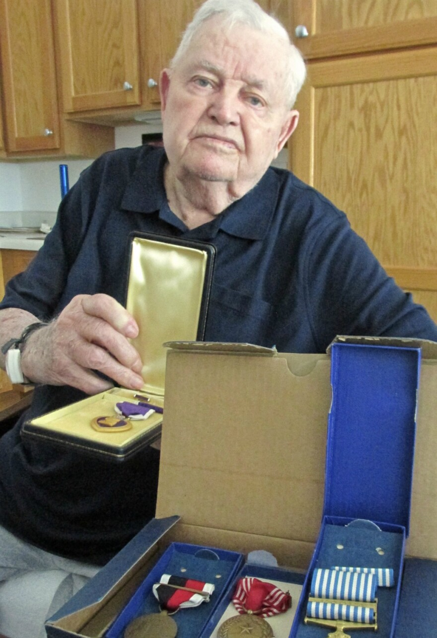 Oliver Dahm said his medals, including the Purple Heart, arrived one day in the mail after he returned home from serving in Korea.
