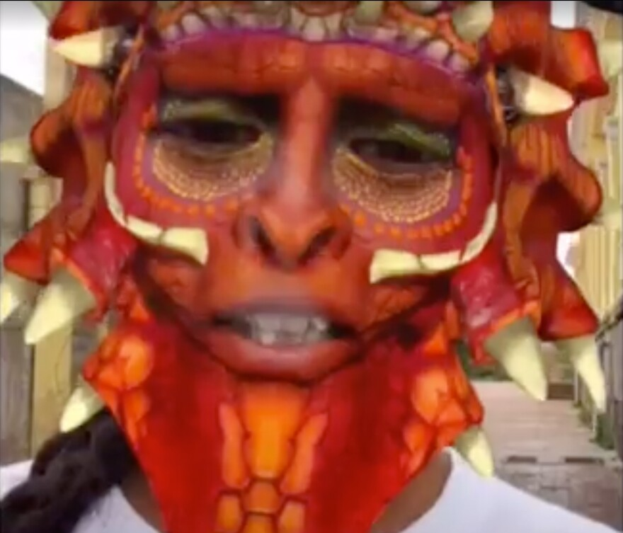 A sexual assault victim in India used this dragon Snapchat filter to protect her identity while telling her story to a journalist.