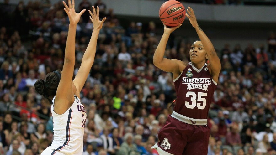 Mississippi State leading scorer Victoria Vivians shoots against Napheesa Collier of  Connecticut in Friday night's NCAA tournament semifinal.