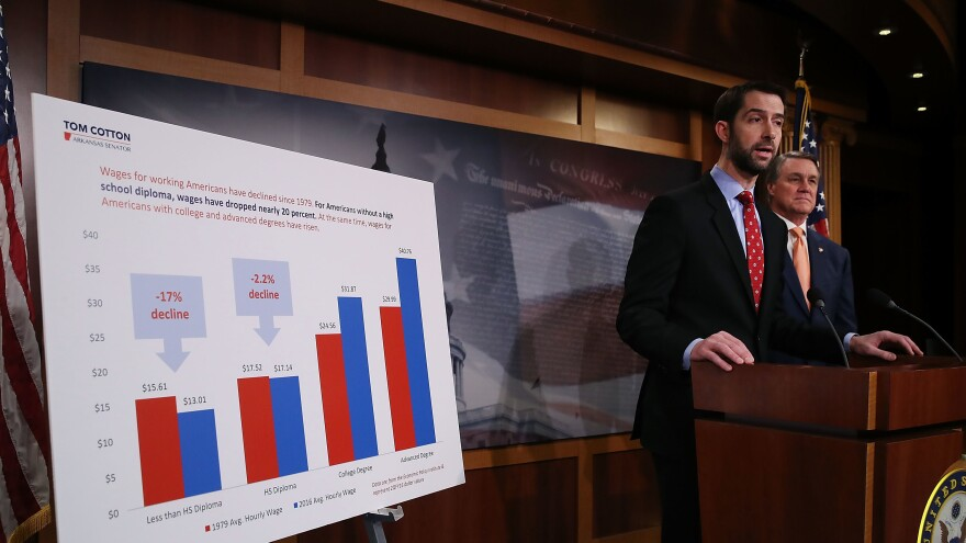 Sens. Tom Cotton, R-Ark., and David Perdue, R-Ga., hold a news conference after unveiling immigration legislation they say is aimed at cutting the number of green cards issued annually by the United States in half.