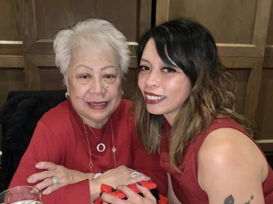 The last photo of Amihilda Menina and her daughter, Normina Nicotra, taken on Christmas Eve, 2019. Menina died of COVID-19 on March 31 at age 76.