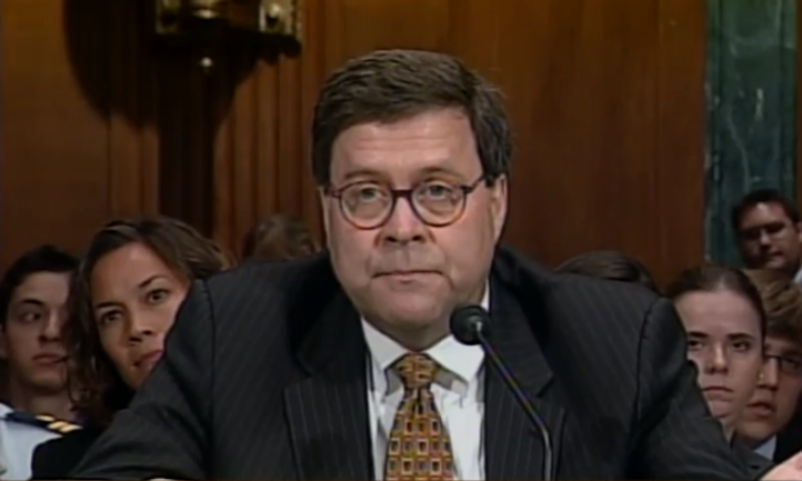 A still image taken of William Barr speaking to the Senate Judiciary Committee on June 15, 2005.