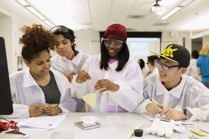Tia Smith, Alexander Lopez, Shamya Shaw and Junxian Zhang work on a science experiment during summer classes at Wash U's college prep program. June 7, 2017
