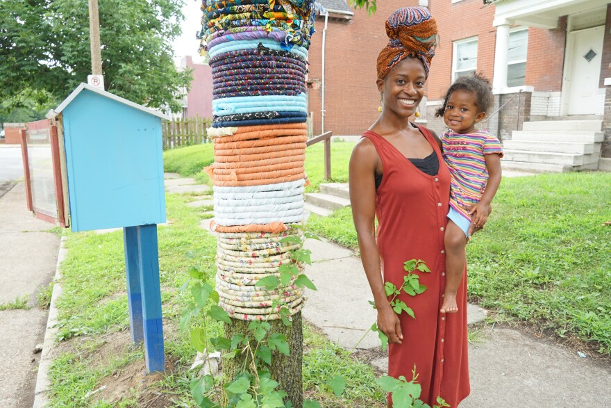 Dail Chambers bought a house across the street from Art House, and has helped brighten up the neighborhood by creating a small lending library, and leading a project to wrap trees in donated fabric. [8/9/19]