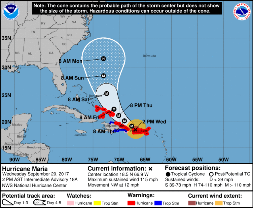 National Hurricane Center projection of the storm's path.