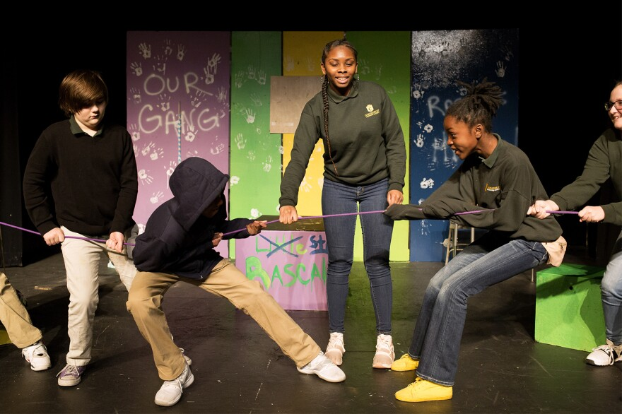 """Carondelet Leadership Academy middle schoolers rehearse for their upcoming performance of """"Still Rascals"""" at the Ivory Theatre on Oct. 25, 2018.."""