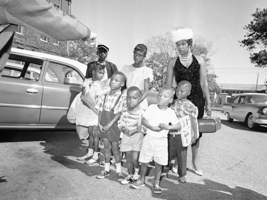 Lela Mae Williams and seven of her nine children on arrival in Hyannis.