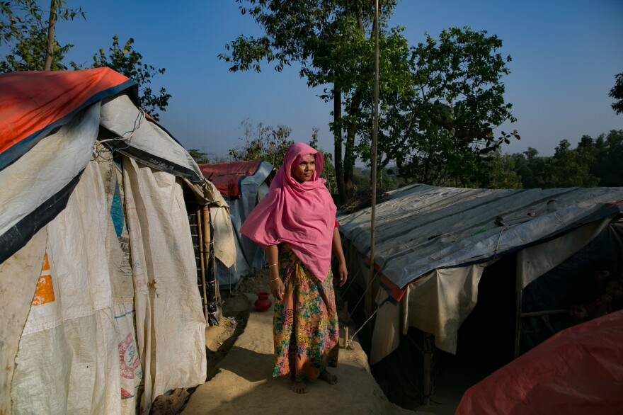 """Shafika Khatun, 30, lives in what's known as the """"widows' village"""" of the Hakimpara camp for Rohingya refugees in Cox's Bazar, Bangladesh. There are no men in the cluster of 34 shelters. Most of the women's husbands were killed in the recent violence."""