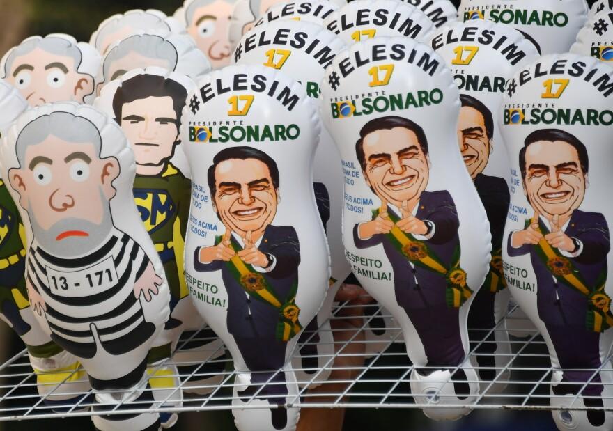 Bolsonaro memorabilia is displayed during a rally along Paulista Avenue in São Paulo last week.