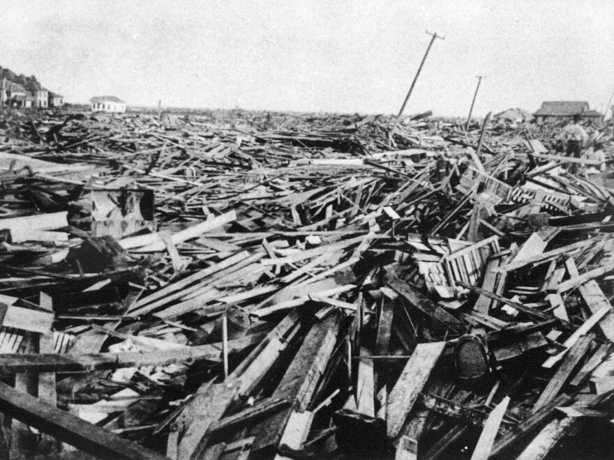 A large part of the city of Galveston, Texas, was reduced to rubble, as shown in this September 1900 photo, after being hit by a surprise hurricane Sept. 8, 1900.