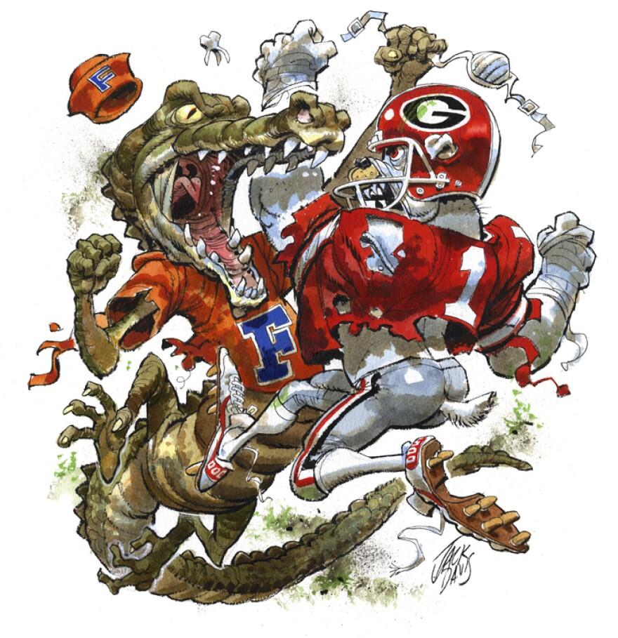 Florida Gator fighting Georgia Bulldog cartoon.