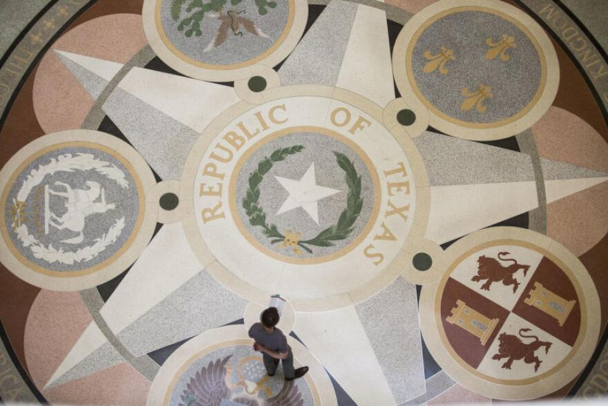 The floor of the rotunda at the Texas Capitol.