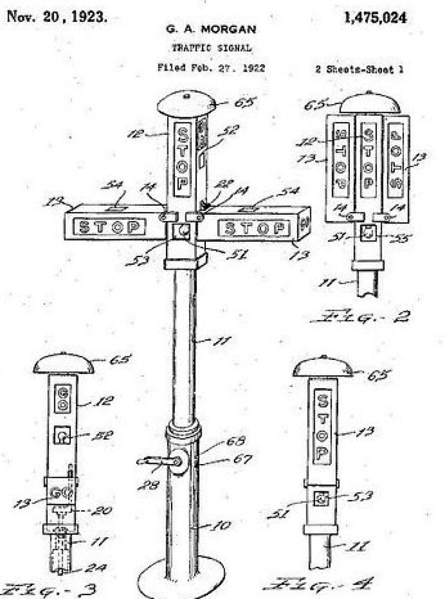 A record of Garrett Morgan's traffic light patent submission at the U.S. Patent and Trademark Office.
