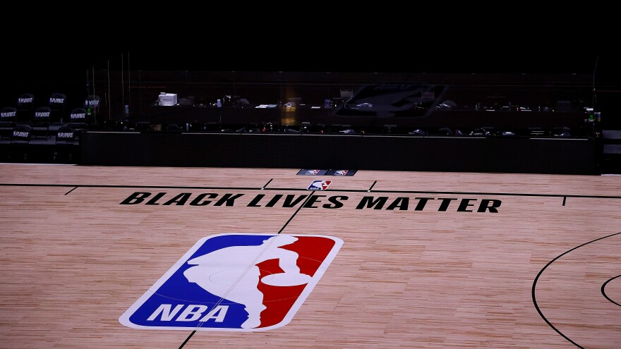 An empty arena is seen as all NBA playoff games were postponed Thursday during the 2020 NBA Playoffs at the ESPN Wide World Of Sports Complex near Orlando.